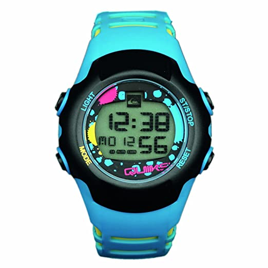 Quiksilver Y018DR 12T - Reloj digital infantil de cuarzo con correa de plástico azul (alarma