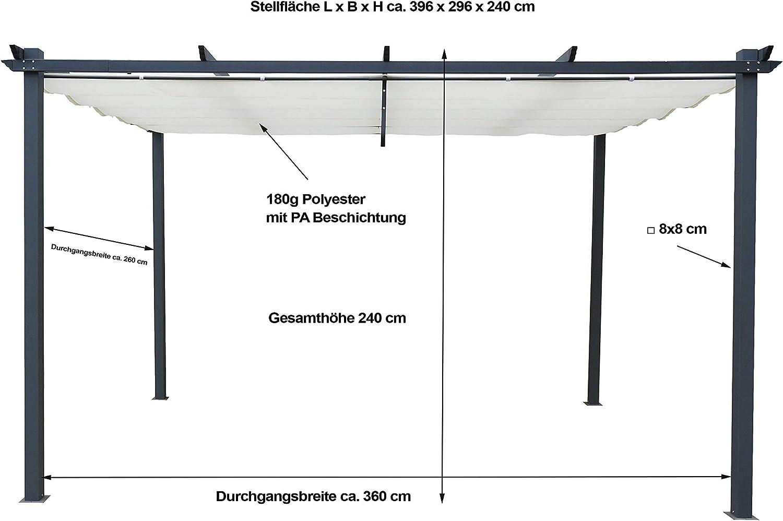 GRASEKAMP Qualit/ät seit 1972 Ersatzdach Beige 3 x 4 Meter f/ür Flachdach Pergola Pompeii Vordach Sonnendach