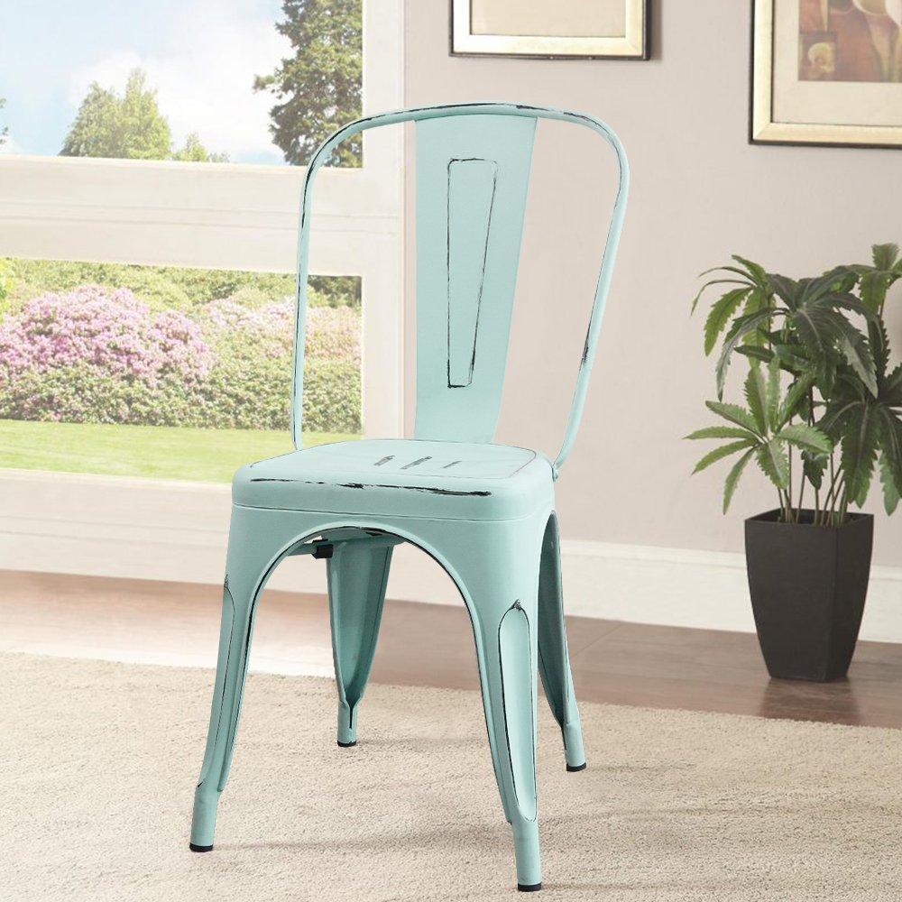 Amazon.com - Devoko Metal Indoor-Outdoor Chairs Distressed Style ...