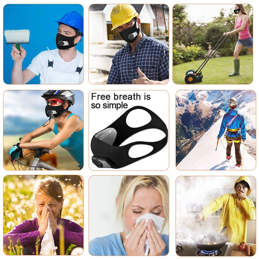 Anti Dust Electric Mask Reusable n95 Respirator for Face Air Purifying, ECOAMOR Washable Safety Masks for Outdoor Sports,Sanding,Gardening,TravelResist Dust,Germs,Allergies,PM2.5,Best Respirator Mask by ECOAMOR (Image #5)