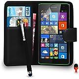 Microsoft Lumia 535 Premium Le cuir NOIR Pochette de couvercle de carter de bascule de portefeuille + Big Toucher Style Stylo + ROUGE 2 Dans 1 Bouchon anti-poussière + Protecteur d'écran & Tissu de polissage SVL2 PAR SHUKAN®, (portefeuille NOIR)