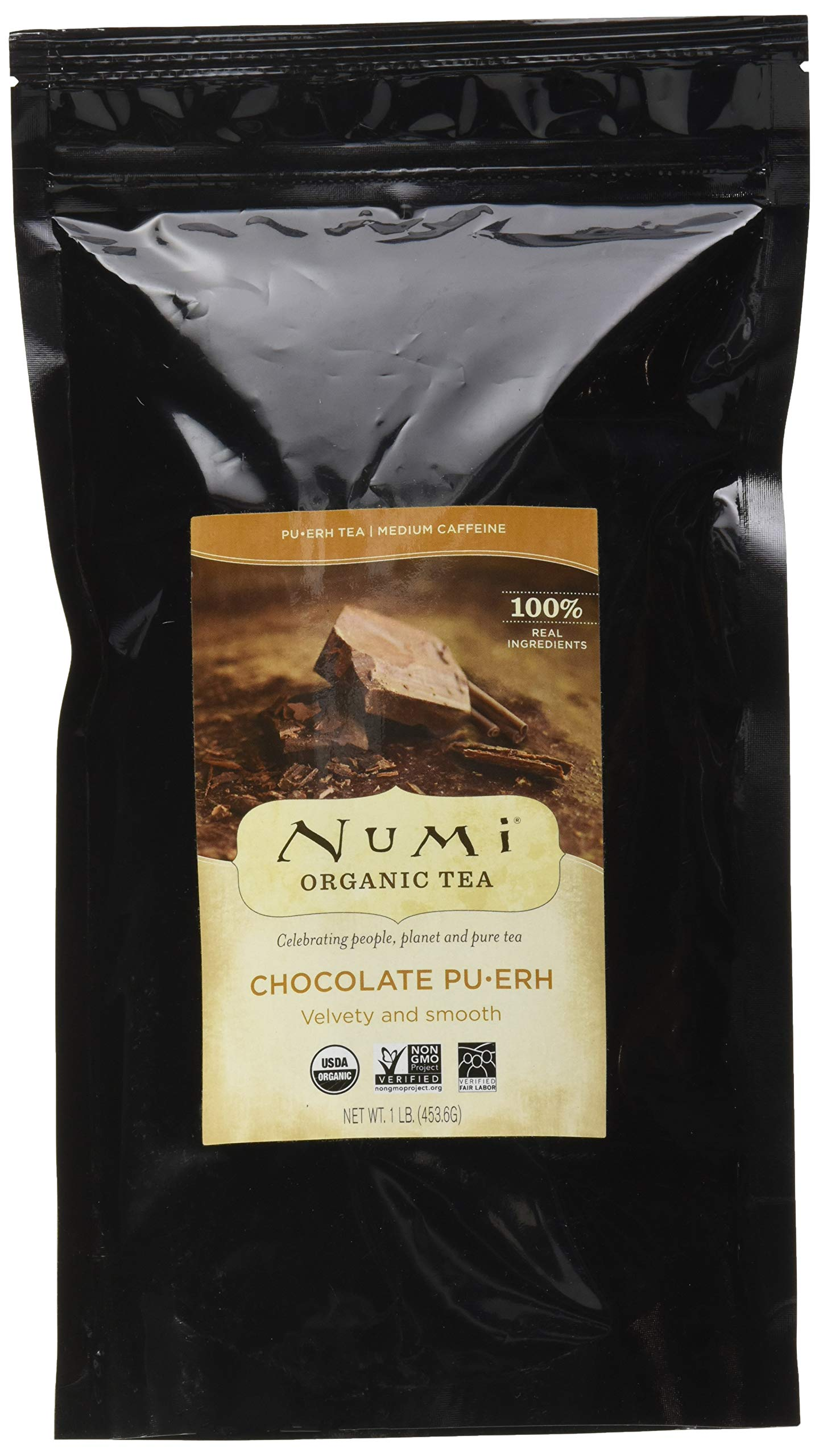 Numi Organic Tea Chocolate Pu-erh, 16 Ounce Pouch, Loose Leaf Black Tea (Packaging May Vary)