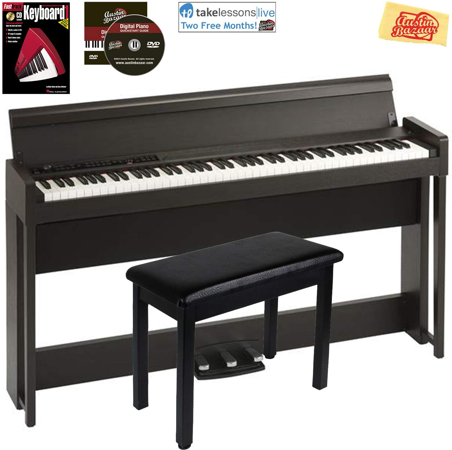 Korg C1 Air Digital Piano - Brown Bundle with Furniture Bench, Instructional Book, Austin Bazaar Instructional DVD, and Austin Bazaar Polishing Cloth by Korg