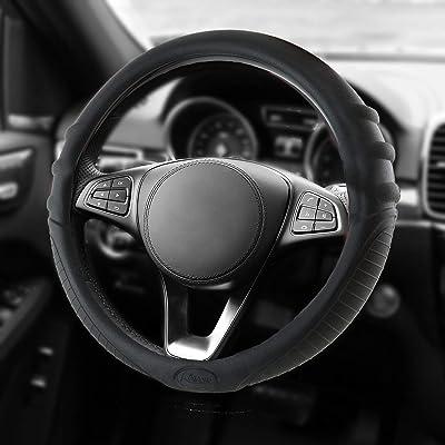 "Universal Silicone Car Steering Wheel Cover Anti-slip Massaging Grip for Car Truck Suv Van 14""15""16""(Black): Automotive"