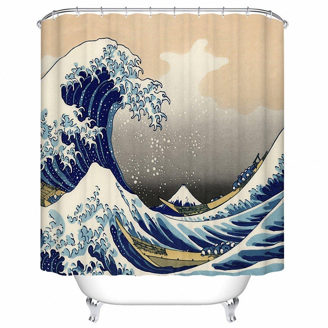 Tenda da doccia impermeabile resistente alla muffa tenda della doccia set con ganci giapponese Sea Wave Style pattern Qihua