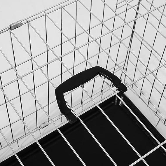 PawHut Transportin Perros 122x77x82 cm 2 Puertas Jaula con Asa Transporte Reja de Alambre de Hierro: Amazon.es: Jardín