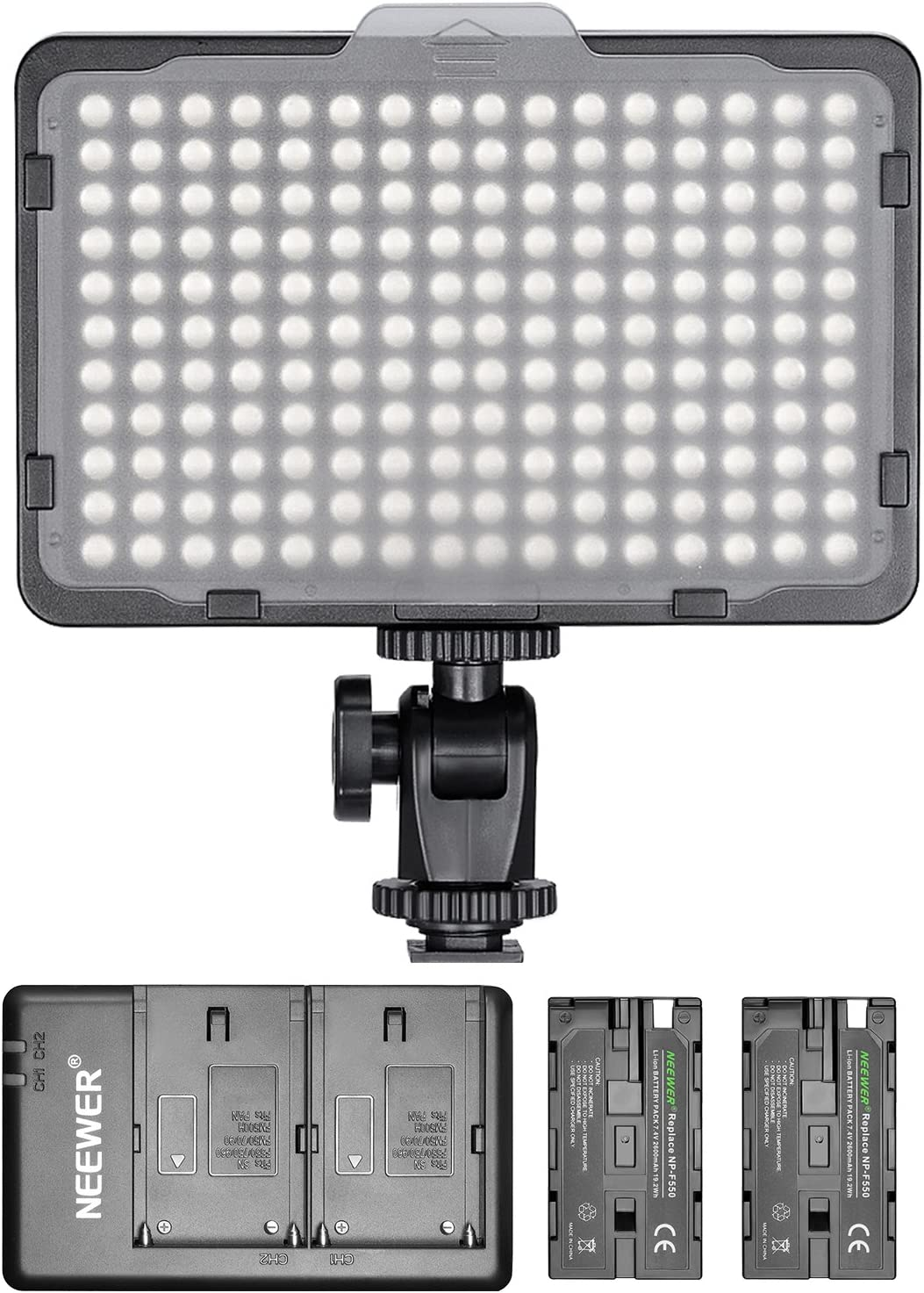 Nikon and Other Digital SLR Cameras for Photo Studio Video Shooting Neewer Dimmable 176 LED Video Light with 2-Pack 2600mAh Li-ion Battery and Dual USB Battery Charger Lighting Kit for Canon