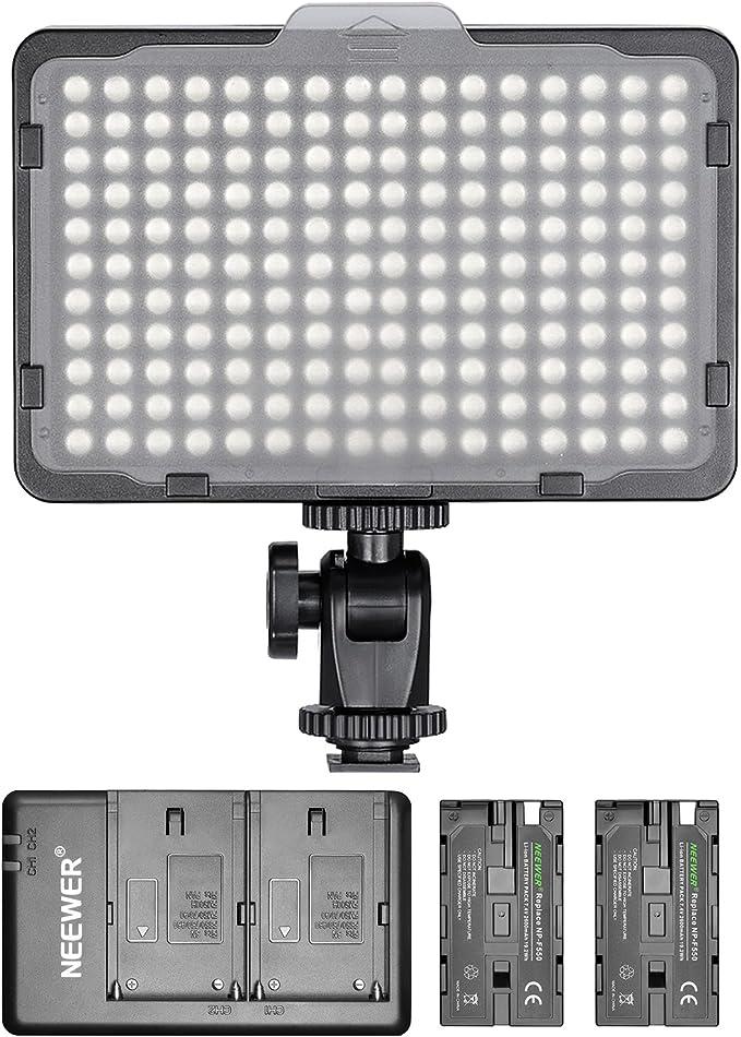 Neewer - Panel de luz 176 LED Regulable con 2 Pilas de Litio 2600 mAh Cargador Doble a USB para réflex Digitales Canon Nikon etc. para grabaciones de vídeo en Estudio fotográfico: Amazon.es: Electrónica