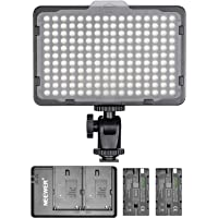 Neewer Dimmable 176 LED Video Light with 2-Pack 2600mAh Li-ion Battery and Dual USB Battery Charger Lighting Kit for…