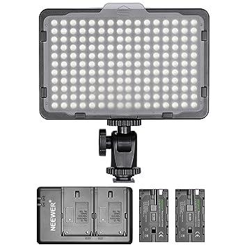 Neewer - Panel de luz 176 LED Regulable con 2 Pilas de Litio 2600 ...