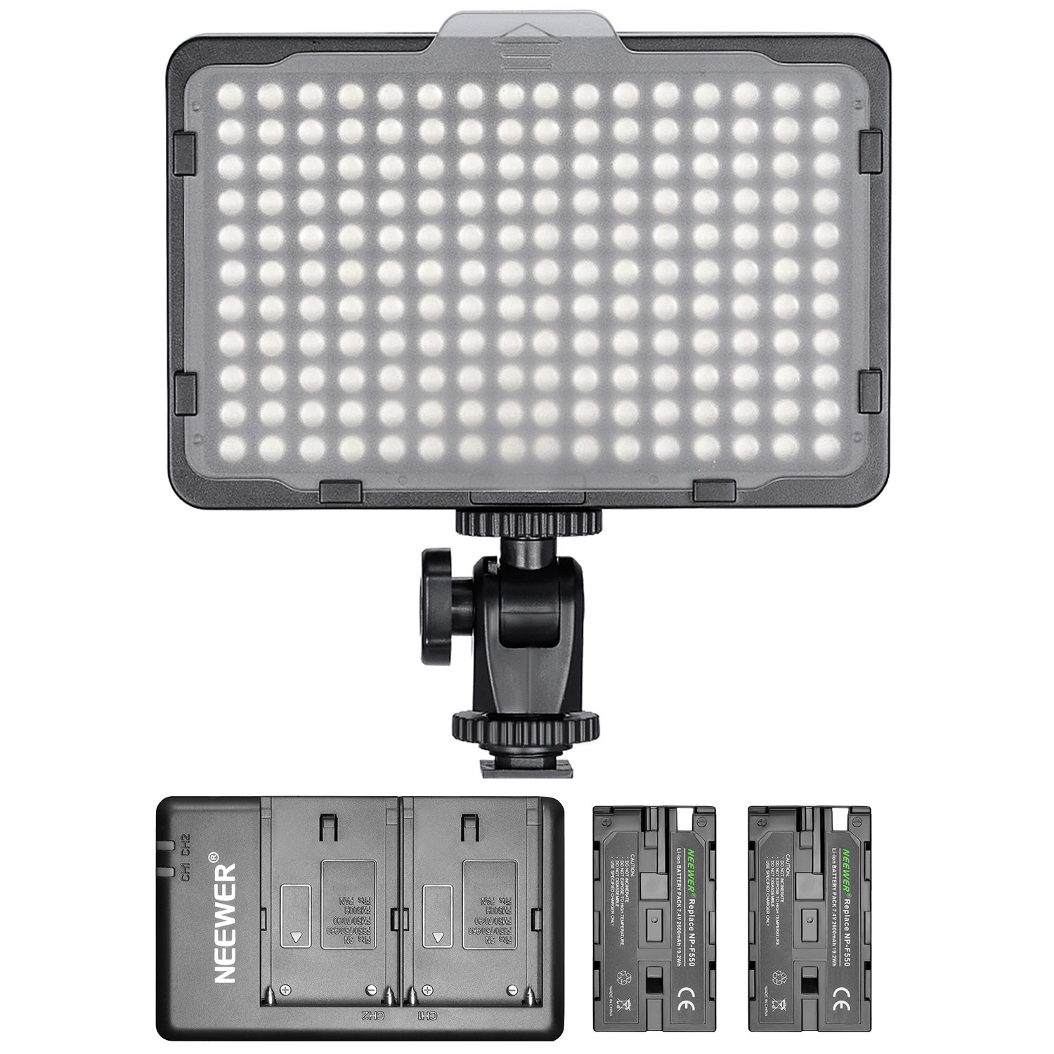 Neewer Dimmable 176 LED Video Light with 2-Pack 2600mAh Li-ion Battery and Dual USB Battery Charger Lighting Kit for Canon, Nikon and Other Digital SLR Cameras for Photo Studio Video Shooting by Neewer