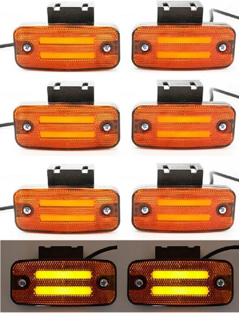 8 x 24 V LED naranja neón lateral marcador luces con soportes remolque chasis camión caravana autobús