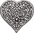 Cast Iron Heart Trivet | Decorative Cast Iron Trivet for Kitchen Or Dining Table | Vintage Design |6.75X6.5 | with Rubber Pegs/Feet - Recycled Metal by Comfify