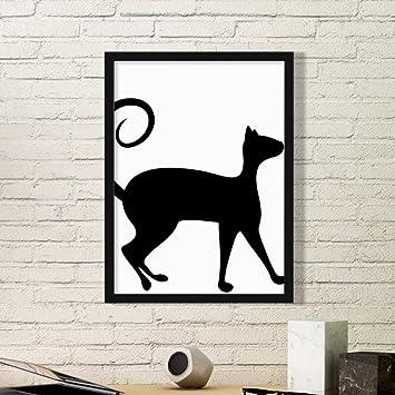 DIYthinker Arte Amante de los Animales Animal Silueta del Gato Simple Marco de Fotos de Cuadros de Pinturas casera de la Pared Pequeño Negro: Amazon.es: ...