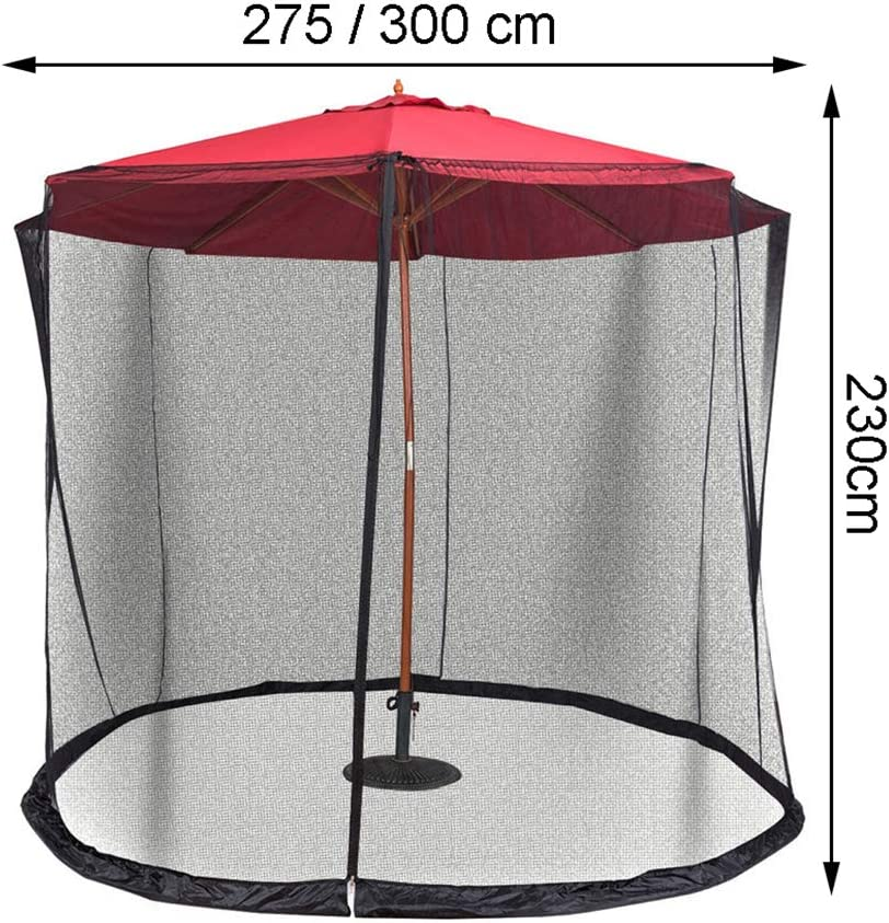 Garden Umbrella Sun Parasol Table Mosquito Net Cover Screen Bug Netting Cover,Zipper Opening and Water Tube at Base,Black,275x230cm