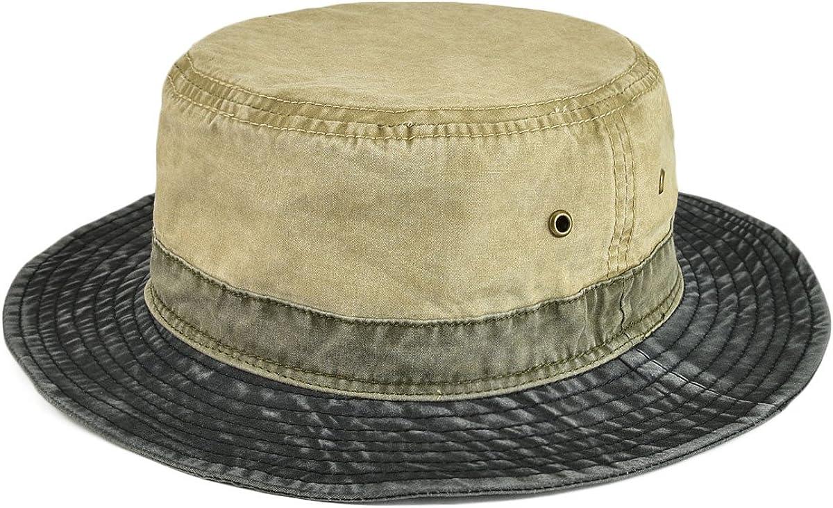 VOBOOM Men Washed Cotton Panama Bucket Hat Packable Summer Travel Fishing Boonie Cap