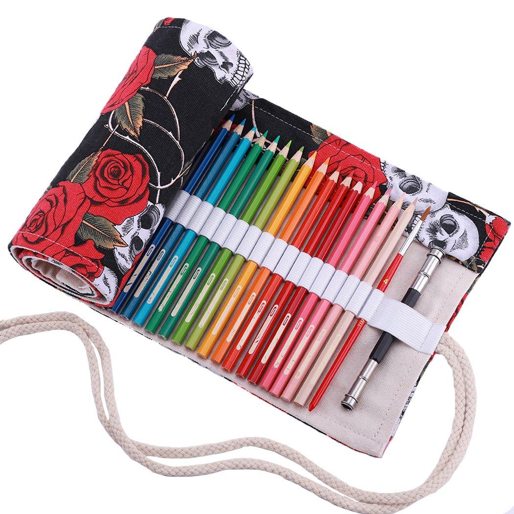 No Incluyendo los l/ápices portal/ápices de Lona Abar/ía Estuche Enrollable para 48 lapices Colores Pintura 48 Bolso para l/ápices Bolsa Organizador l/ápices para Infantil Adulto