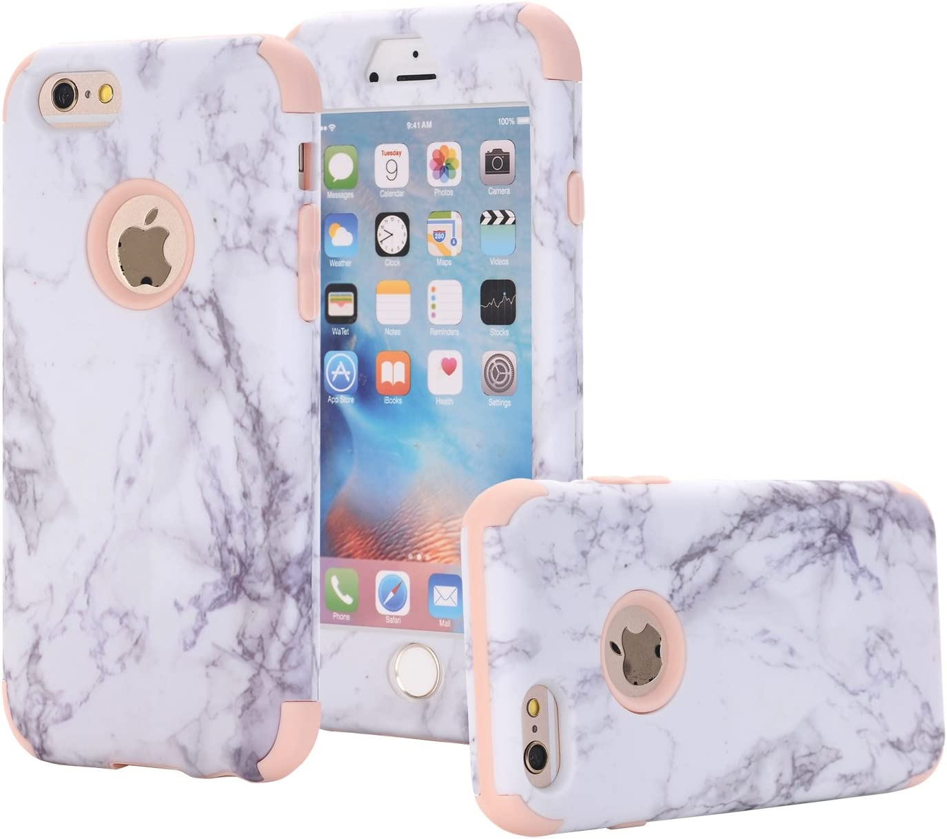 """iPhone 6 Case, iPhone 6s Case, KMISS Shockproof Marble Pattern [Drop Protection] Hybrid Heavy Duty Three Layer Full-Body Protective Armor Defender Case for iPhone 6/6S 4.7"""" (Rose Gold)"""