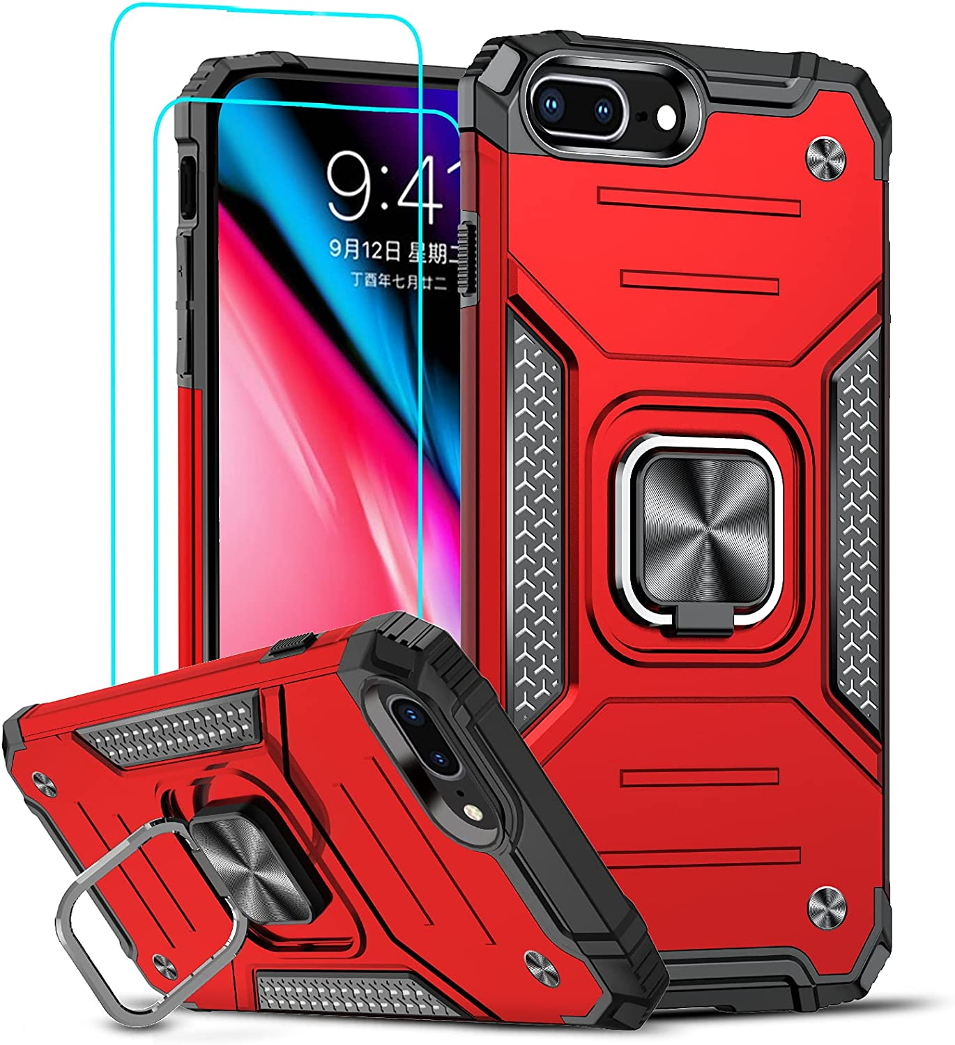 LeYi Compatible with iPhone 8 Plus Case, iPhone 7 Plus Case with 2 Tempered Glass Screen Protector, Shockproof [Military-Grade] Phone Case with Ring Kickstand for iPhone 8 Plus/7 Plus/6s Plus, Red