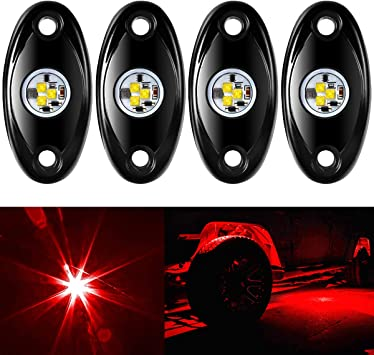 4 Pods RGB LED Rock Lights Multicolor Underglow Underbody Neon LED Light Kit for Jeep ATV SUV Offroad Truck Boat