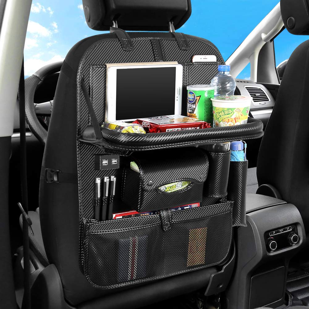 HomDSim Car Seat Back Organizer with 4 USB Charger Car PU Leather Backseat Organizer Travel Multifunction Storage Pocket Universal Auto Interior Accessories