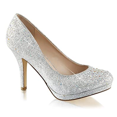 Amazon.com | Womens Silver Rhinestone Shoes Glitter Pumps Sparkly ...