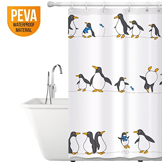 Great Tatkraft Penguins Peva Shower Curtain 180X180 Cm Waterproof 12 Rings