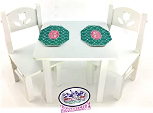 Matty's Toy Stop 18 Inch Doll Furniture White Wooden Table and Chairs Set with Placemats (Floral Design) - Fits American Girl Dolls