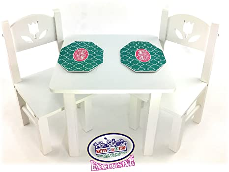 Mattys Toy Stop 18 Inch Doll Furniture White Wooden Table And Chairs Set With Placemats Floral Design Fits American Girl Dolls