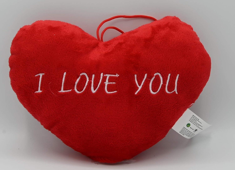 Cojín de Corazón Rojo con Frase de Amor, I Love You de 28cm