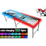 8-Foot Beer Pong Table w/OPTIONAL Cup Holes, LED Glow Lights, Dry Erase Surface, Custom Graphics & More.