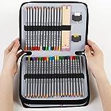 Zilong 124 PU Cuir Trousse de Crayon Multifonction Sac de Crayon avec Grande Capacité Solide Durable pour Artistes Professionnel Étudiants Garçons Filles(Noir)