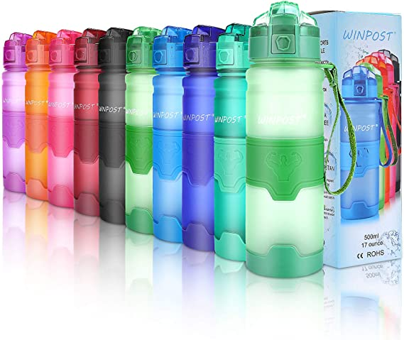 Image of Botella de agua deportiva, 500ml & 700ml y 1000ml-BPA Botella ecológica de plástico Tritan con filtro, tapa abatible, se abre con 1 clic, reutilizable con tapa a prueba de fugas para acampar, correr, gimnasio, yoga y aire libre