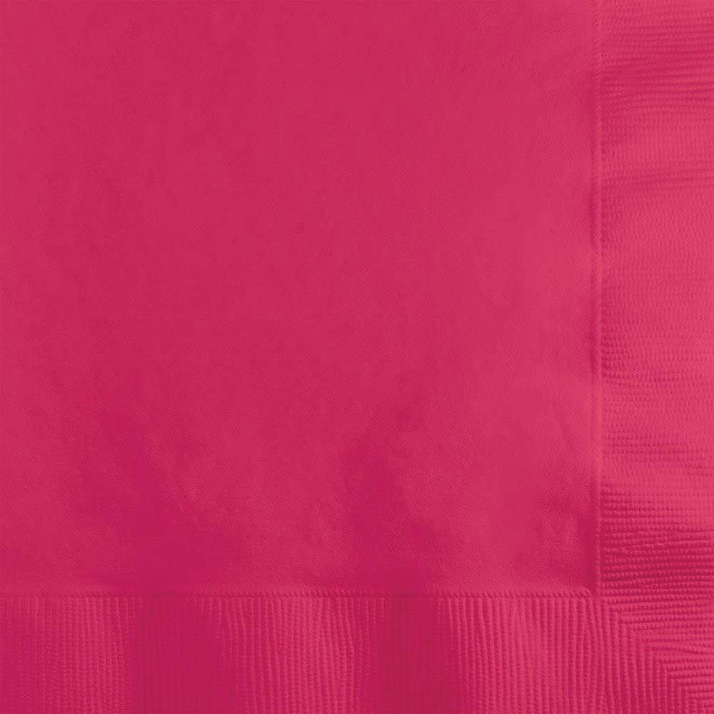 Creative Converting 500 Count Touch of Color 3-Ply Paper Beverage Napkins, Hot Magenta