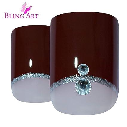 Uñas Postizas Bling Art Rojo Marrón Crystal 24 Squoval Medio Falsas puntas acrílicas con pegamento