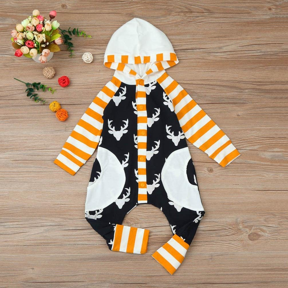 Allywit Toddler Newborn Baby Girl Boy Antlers Print Hooded Romper Jumpsuit Clothes