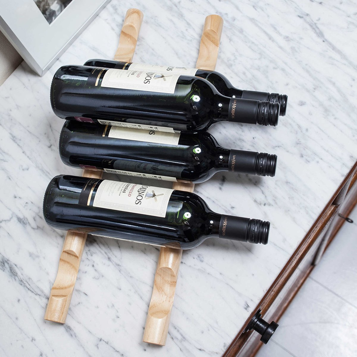 Kikkerland 4pc Wood Wine Rack Stick Set Stackable Kitchen Counter Table Bottles Organizer