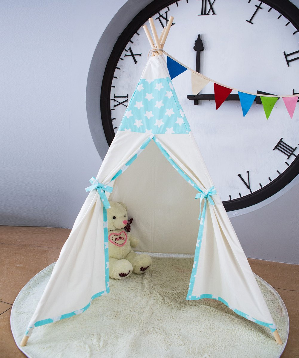 Kids Teepee Tent,Large Blue Star Play Tent for Children Gift Outdoor and Indoor Playhouse Decoration (With Flag and Carry Case)