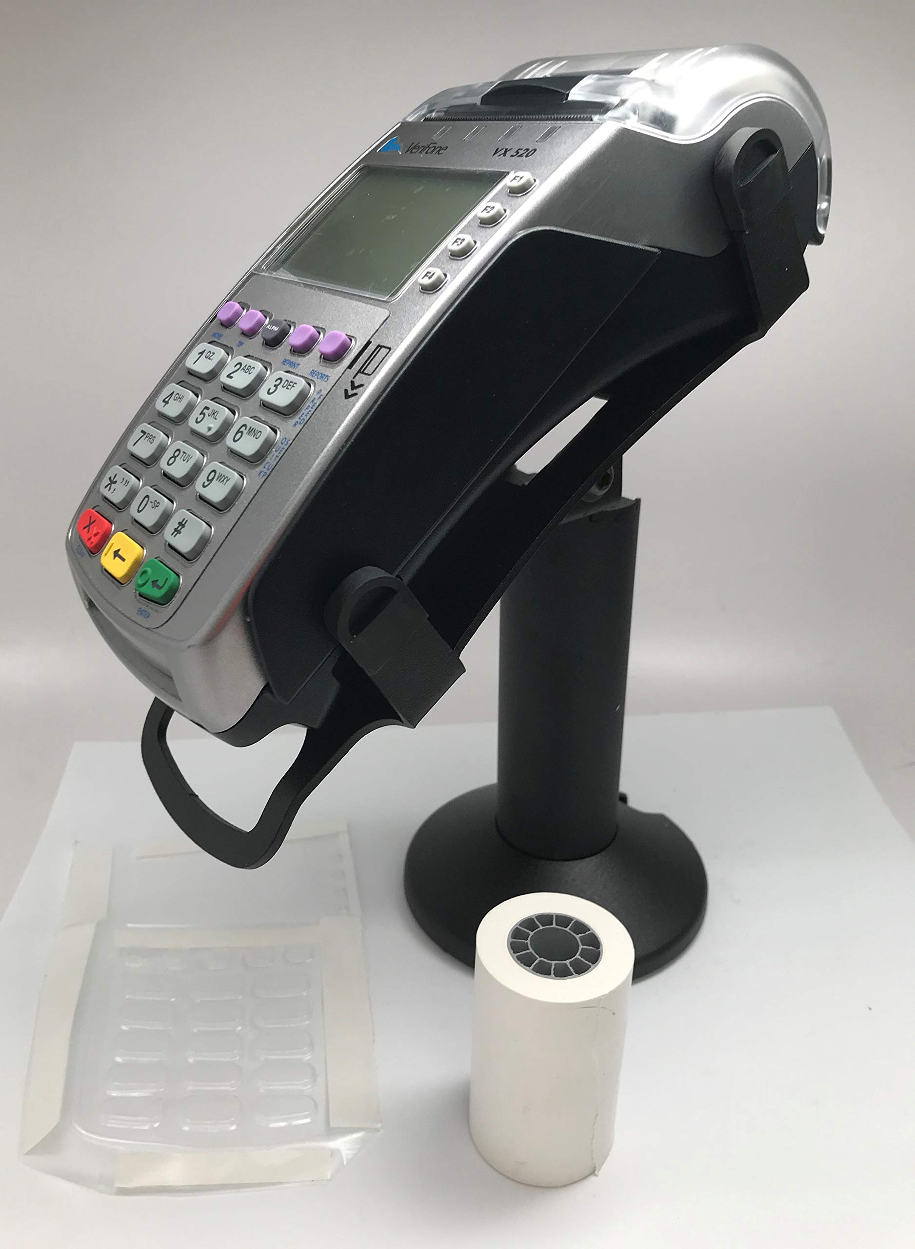 Verifone Vx520 EMV CTLS Terminal, Swivel Stand, Full Device Spill Cover and 2-1/4'' x 50' (24 Rolls) Thermal Paper