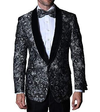 93696782967f Statement VJ110 Mens Black Silver Velvet Shawl Lapel Formal Tux Jacket + Bow  Tie (50L