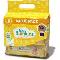 Baby Wipes   Premium Baby Bumkins Value Pack 3 x 80 Bigger, Thicker & Softer   Fragrance Free.