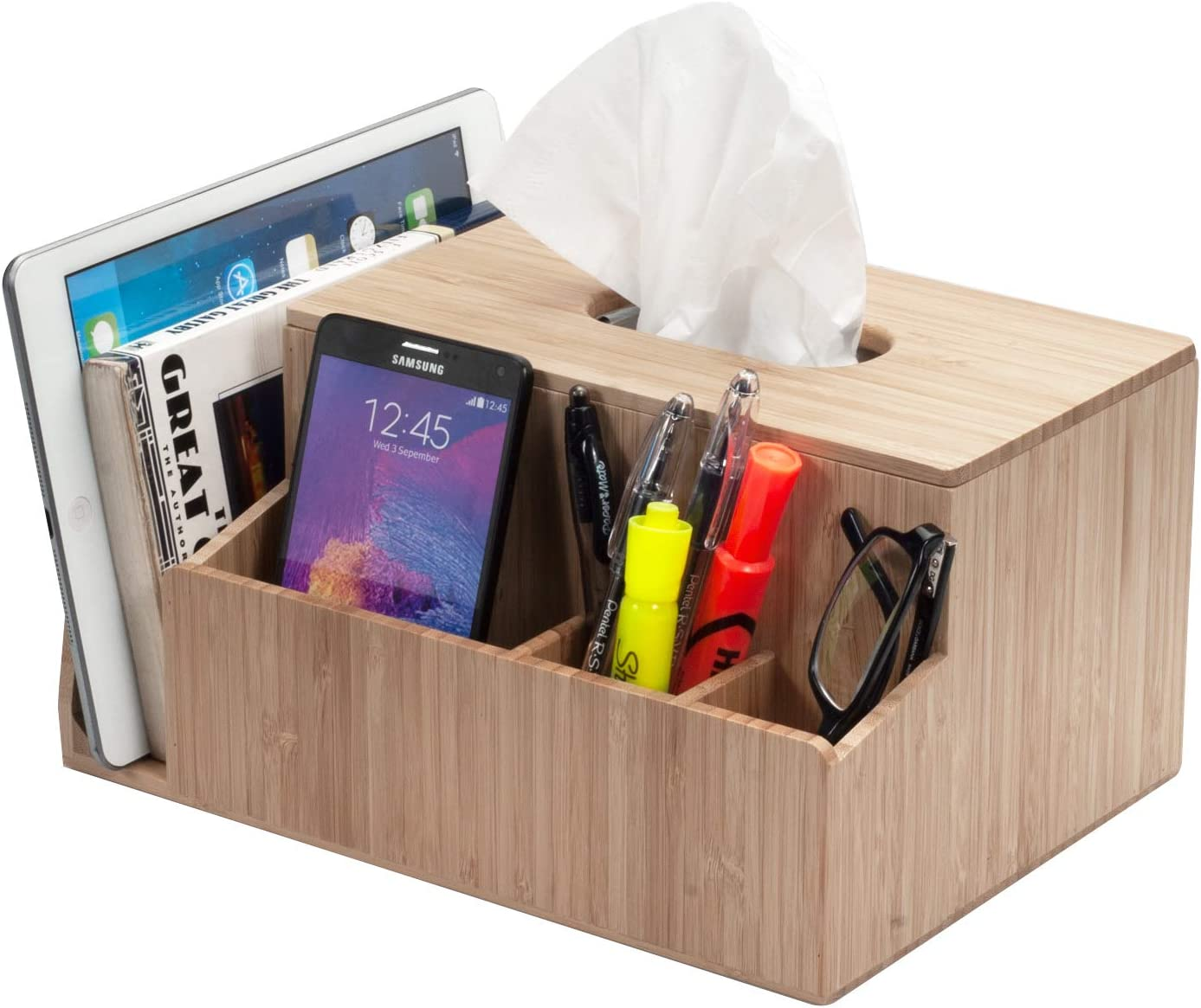 MobileVision Bamboo Tissue Box Holder & Tablet Stand Organizer for Bedroom & Desktop; compartments Hold iPad Phones Remote Controls Reading Glasses Notepads & Pens