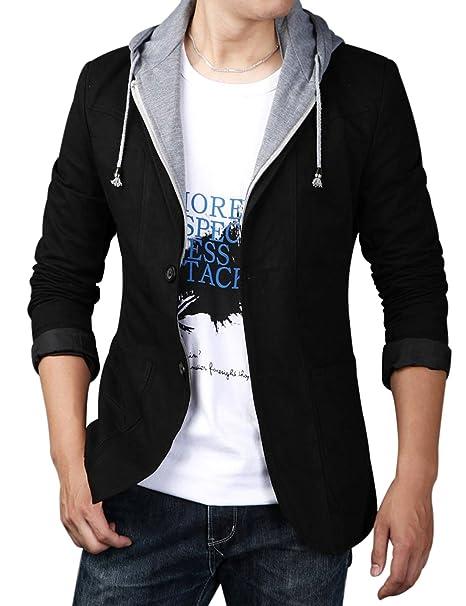 Yeokou Men\u0027s Casual Cotton Slim Two Buttons Hoodie Suit Jacket Blazer Sport  Coat
