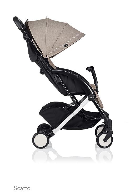 Carrozzina con parapioggia e manubrio rimovibile ROCKING BABY Passeggino leggero reclinabile chiusura ombrello Colore beige Passeggino leggero