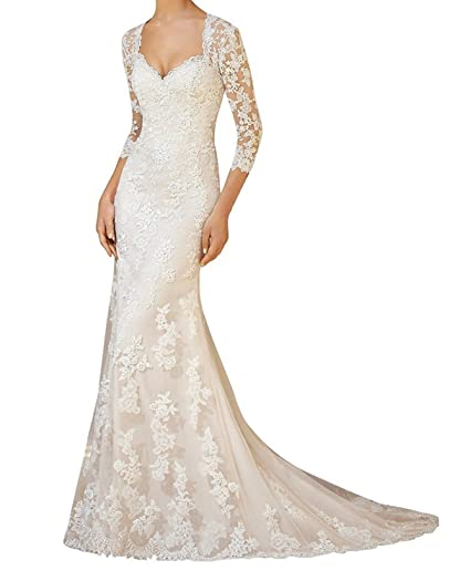 661254ed6a Meledy Women s Lace Appliques 3 4 Sleeves Mermaid Wedding Dresses for Bridal  at Amazon Women s Clothing store