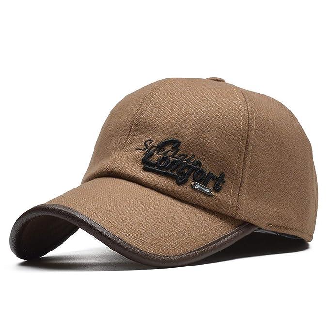 Rzxkad Winter Baseball Cap Men Gorras Snapback Hat with Earflaps Wool Casquette Homme Winter Trucker Cap