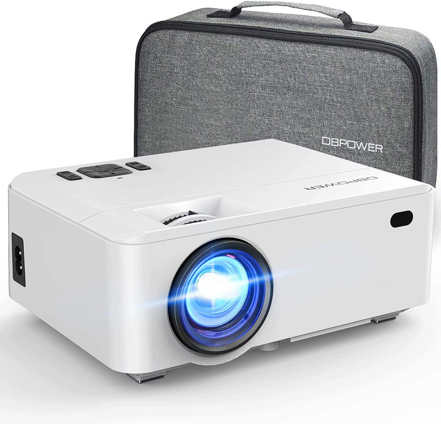 Projector, DBPOWER RD-820 Video Mini Projector Portable with Carrying Case, 5500L Full HD 1080P and 200'' Display Supported, Video Projector Compatible with TV Stick, PS4, HDMI, VGA, TF, AV and USB