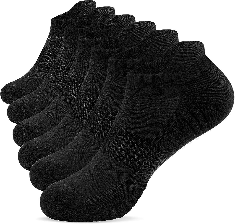 TANSTC Mens Socks,6 Pairs Running Socks Anti-Blister Cushioned Cotton Socks,Breathable Athletic Socks Ankle Socks