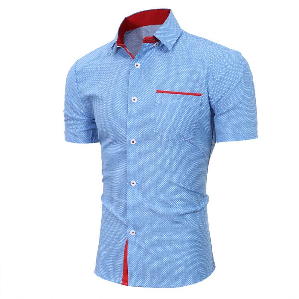 9e157bd2bb4c0d Amazon.com: POTO HOT Sale,Plus Size Mens Business Dot Print Button Down  Dress Shirts Short Sleeve Slim T-Shirts Blouse Tops: Clothing