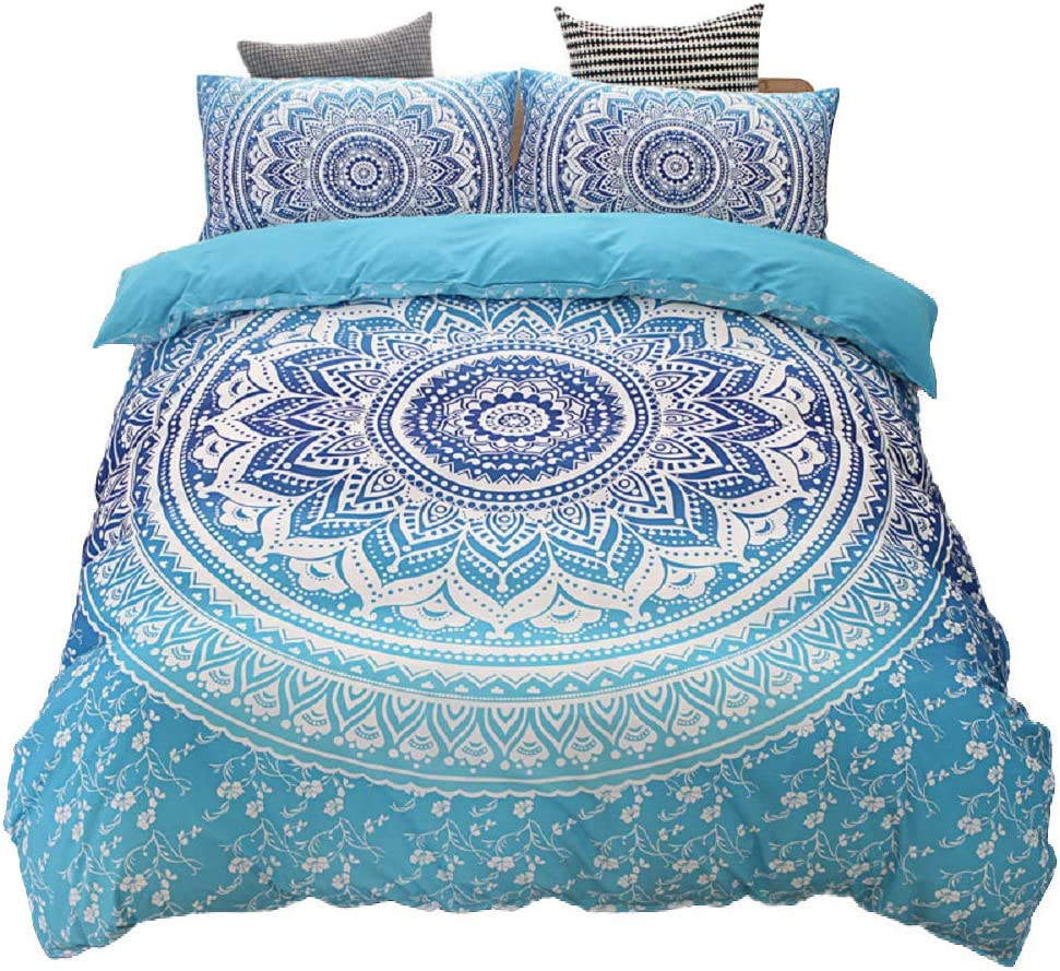 Mandala Flower Duvet Cover Set, Bedding Sets Soft Luxury Microfiber Comforter Cover, Chic Round Vintage Pattern Quilt Cover with Zipper Closure (Blue, 3pcs, Full Size)